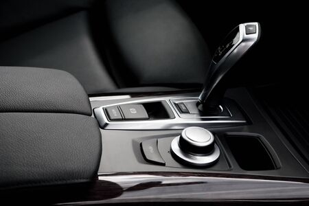 new motor car: The gear shift lever in the modern car Stock Photo