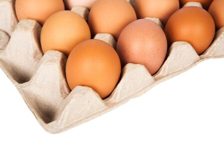 eggs in the package on a white background photo