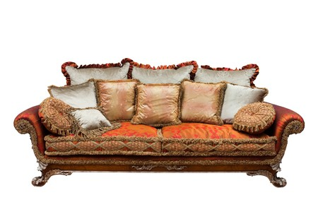 beautiful sofa with cushions on a white background