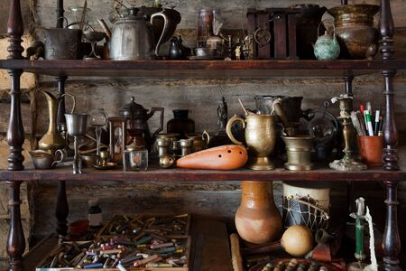 beautiful old objects in the studio of the artist photo