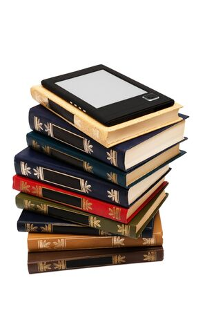 e-book and old books on a white background photo