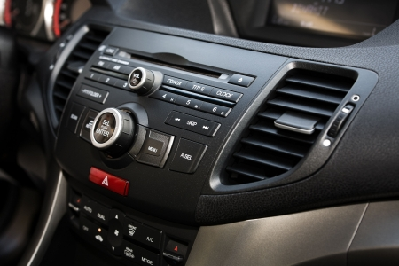 control panel and cd in a modern car Stock Photo