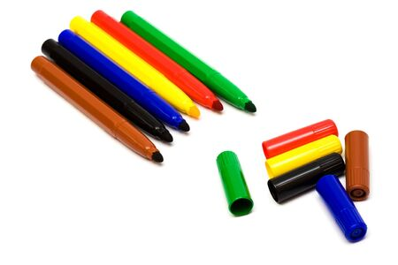 Beautiful color felt-tip pens on a white background photo