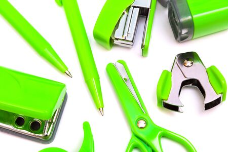 neat: Green objects to work on a white background Stock Photo