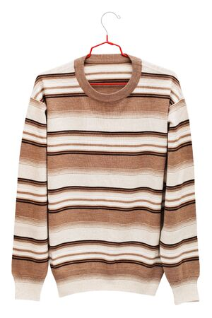 warm striped sweater on a white background photo