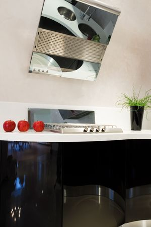 oven and range: fashionable and beautiful kitchen in a modern apartment