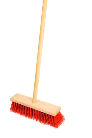 broom handle: Beautiful red mop on a white background