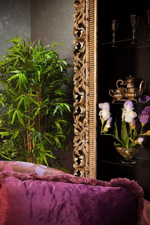 violet residential: bamboo around the cabinet in a modern apartment Stock Photo