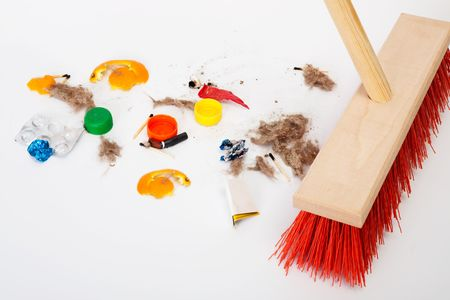 office cleanup: Cleaning the modern red mop mixed trash