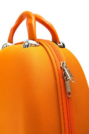 orange large suitcase on a white background Stock Photo - 5164605