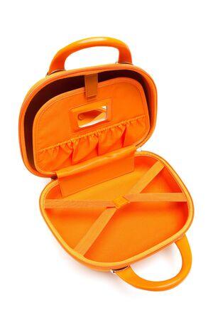 lugage: orange large bag on a white background Stock Photo