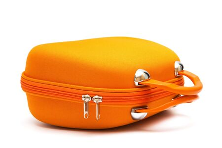 orange large suitcase on a white background