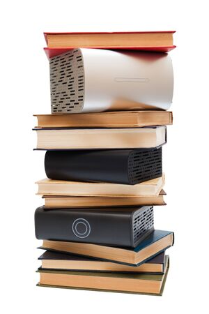 hard drives, and old books on white background Stock Photo - 5355654