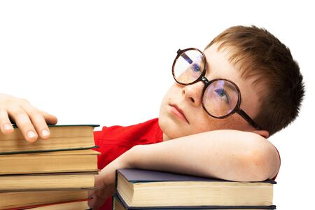 boy with glasses and books on white background Stock Photo - 5413169