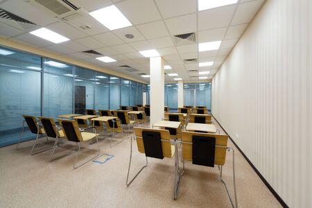 beautiful wooden desks in the modern school Stock Photo - 5449065