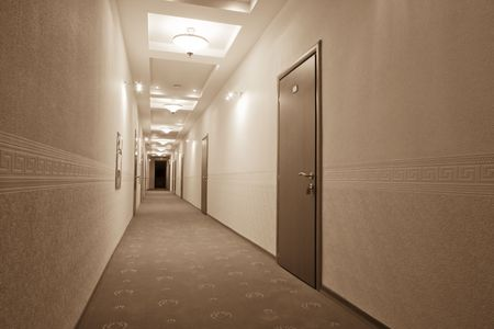 beautiful long corridor with a view of the room photo