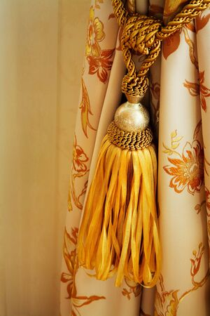 curtain with an ornament in the modern  apartment photo