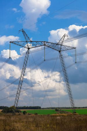 reliance: modern reliance power against the blue sky Stock Photo