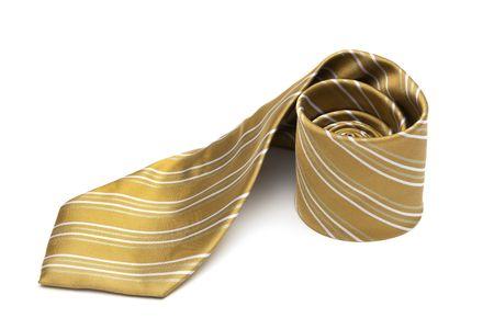 silk tie: Fashionable striped necktie on a white background