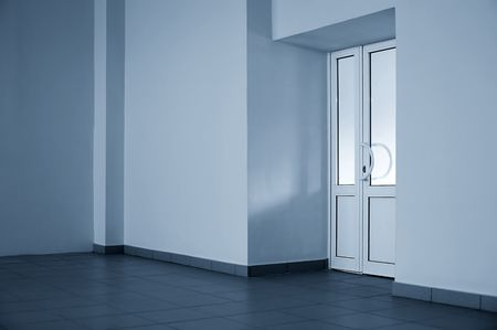 The glazed door in a blue room photo