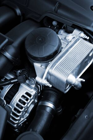 The powerful engine of the modern car photo