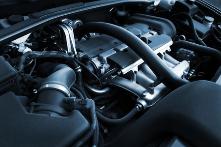 The powerful engine of the modern car Stock Photo