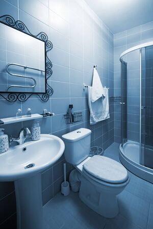 shower cubicle: Bathroom with a shower cubicle in flat Stock Photo