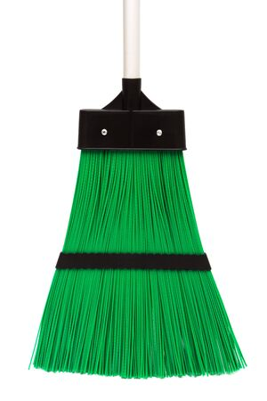 green and modern broom on white background photo