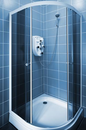 shower cubicle: New beautiful shower cubicle in a modern bathroom Stock Photo