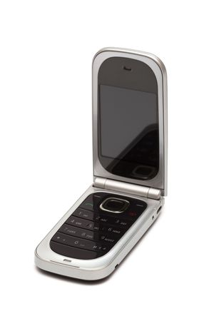 flip phone: Modern mobile phone on a white background Stock Photo