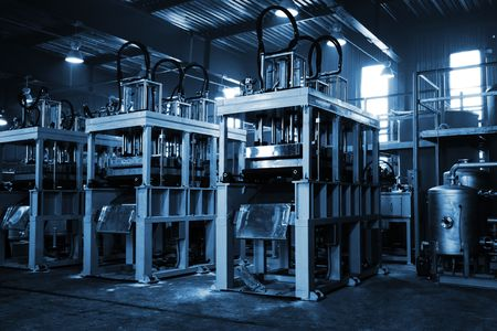 powerful press in the shop at a modern factory photo