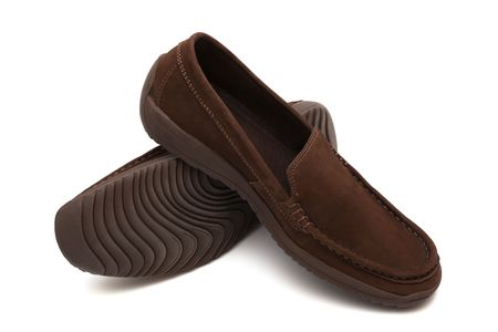 moccasins: brown new moccasins on a white background
