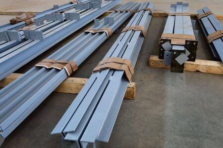 new welded metal beams on modern plant photo