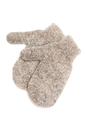 warm gloves made of wool on a white background photo