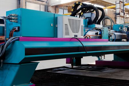 new and powerful metalworking machine in modern workshop photo