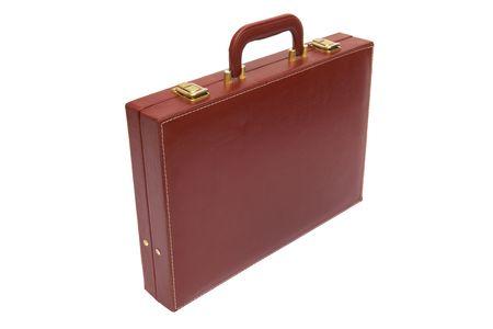 attache case: old red attache case on a white background
