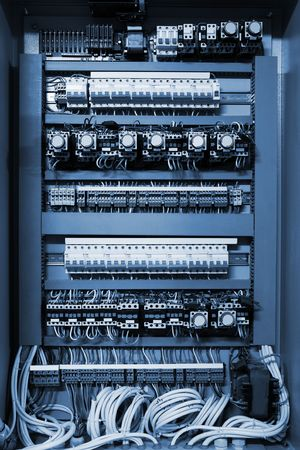 distribution board: Color wires in a box of distribution of an electricity
