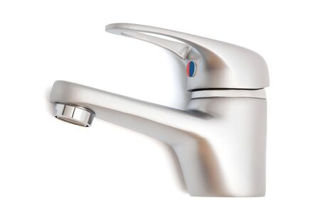 a modern faucet on a white background photo