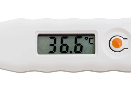modern and new electronic thermometer on white background photo