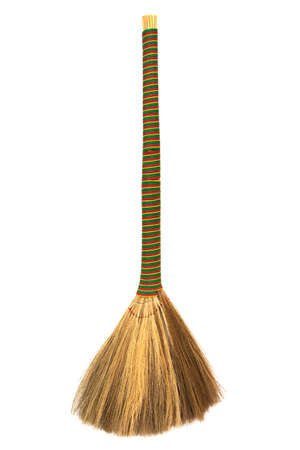 broom handle: broom with a long handle on a white background Stock Photo