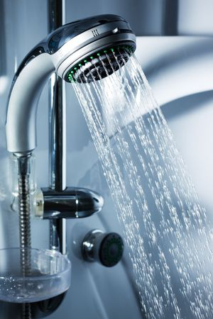 Water from the shower in the modern bathroom Stock Photo