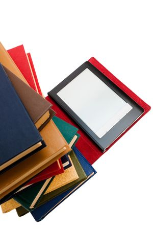 reader and old books on a white background photo