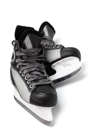 shoestrings: new and modern black skates on white background
