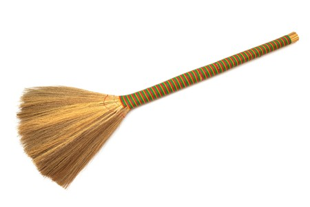 besom: new broom on a white background Stock Photo