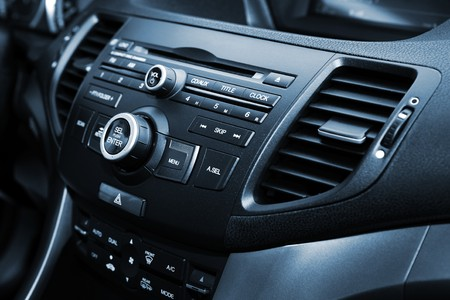 dash: control panel and cd in a modern car Stock Photo