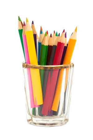 descriptive colour: small color pencils on a white background