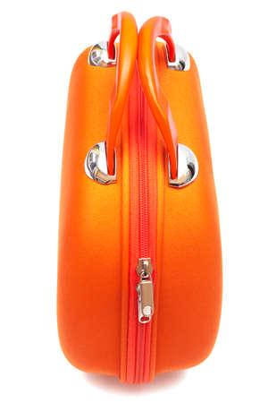 carryall: orange large bag on a white background Stock Photo