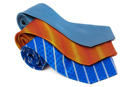 silk tie: bright and fashionable ties on a white background