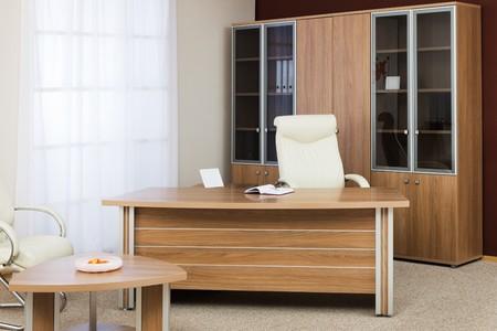 mobiliario de oficina: Sill�n del director sobre un fondo de una ventana