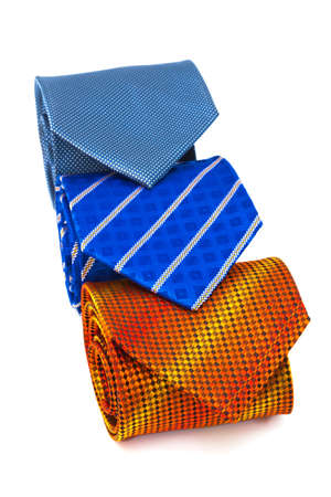 bright and fashionable ties on a white background photo